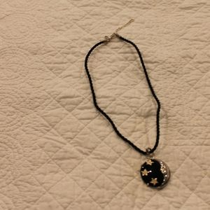 Jewelry - Sterling Onyx and enamel moon enhancer on cord
